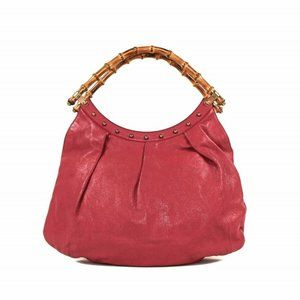 Gucci Magenta Leather and Bamboo handle tote